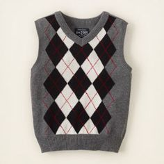 Over the striped vest?  Children's Place argyle vest