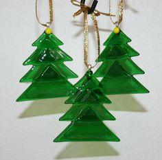 Christmas tree fused glass Christmas ornaments translucent green,set of three.. $27.00, via Etsy.