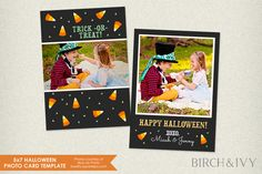 5x7 Halloween Photo Card Template by Birch and Ivy on Creative Market