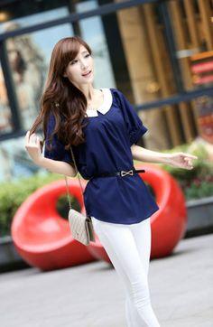 ₱847.00, #Navy Blue #Blouse /Navy Blue Blouse. http://asianfashion.ph/product/navy-blue-blouse-71690/