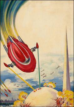 Frank R. Paul, 1939.  comic book cover art pulp retro futurism back to the future tomorrow tomorrowland space planet age sci-fi airship steampunk dieselpunk alien aliens martian martians BEMs BEM's
