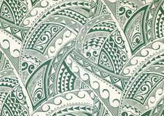 Tropical Hawaiian stylized Polynesian tattoo, tapa, cotton poplin apparel fabric. More colors at BarkclothHawaii.com