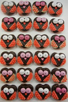 owls  You could use these for Valentine's day and use the Little Debbie heart cakes
