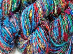 Banana silk yarn 280g - 9.9oz, art silk yarn, banana fiber yarn, vegan yarn, multi colored. $30.00, via Etsy.