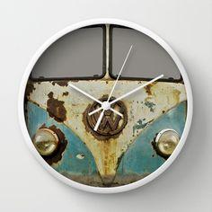 VW Rusty Wall Clock by Alice Gosling | Society6