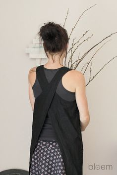 Linen apron dress in black Pinafore apron Natural linen Eco