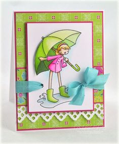 Love this card and the way she threaded the ribbon THROUGH the ribbon!  And the papers - my FAVORITE line to hoard!