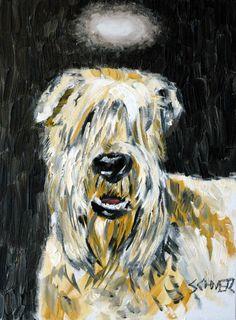 soft coated wheaten terrier angel dog art PRINT by SCHMETZPETZ, $12.49