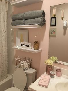 Teen Bathroom Decor, Cute Bathroom Ideas, Bathroom Interior Design, Bedroom Decor, Teenage Bathroom Ideas, Bathroom Sinks, Little Girl Bathrooms, Teen Bathrooms, First Apartment Decorating