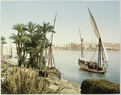 Kairo, bords du Nil et Dahabieh [Basse Egypte Janvier 1906 Travel albums from Paul Fleury's trips to Switzerland, the Middle East, India, Asia, and South America] , Photochrom (photolithograph) , [between 1898 and 1908] , Photo Zürich