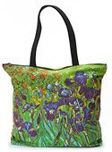 Van Gogh Irises art tote bag with inside pockets and zipper top, perfect gift for back to school tote bag idea!