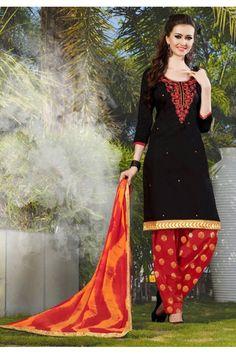 Office Wear Black Cotton Patiyala Suit - 119