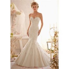 Mori Lee 2623 - Strapless Sweetheart, Mermaid, Floor Length, Gold, Lace | Finding Wedding Dress Canada
