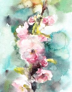 Watercolor Painting Art Print Cherry Blossoms by CanotStopPrints