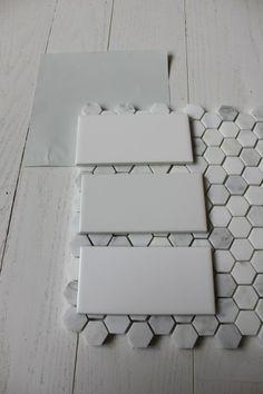 benjamin moore wickham gray with subway tile & hex floor tile