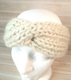 Knit headband, Knit turban headband, chunky knit headband, ivory knit headband. $26.00, via Etsy.