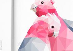 Galah pair print Lovebirds Romantic art Pink by tinykiwiPrints