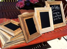 chalkboard frames.  Use to label food at your next party.  Love this idea!