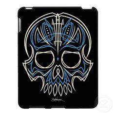 robschwager blue pinstripe skull iPad case