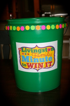 La*tee*da*kids: Family Game Night with Minute to Win It.  Gift idea with links to printables.