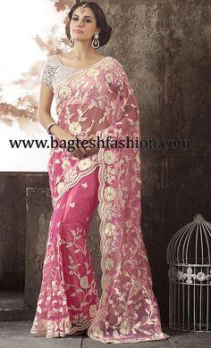 Beautiful Pink Net Saree