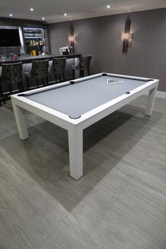American Contemporary Pool Dining Table in Oak (white oak) finish and Simonis Grey cloth. Outdoor Pool Table, Pool Table Dining Table, Pool Table Room, Dining Room Bench, Pool Tables, White Pool Table, Diy Pool Table, Game Room Bar, Game Room Decor