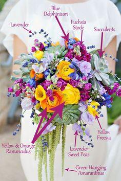 marsala and blue flowers   Bouquet Breakdown – Bright Wildflower Bridal Bouquet