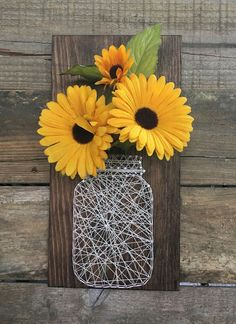 Mason Jar String Art with Flowers - spring home decor