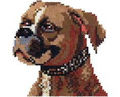 Boxer Designed By The Perler Design Team Create this terrific portrait of a boxer by connecting four large square pegboards to make a bigger workspace. Look for the other dogs in this series! Pearler Bead Patterns, Perler Patterns, 8bit Art, Hama Beads Design, Peler Beads, Beads Pictures, Iron Beads, Melting Beads, Dog Crafts
