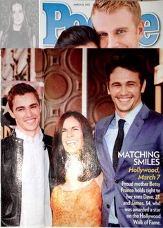 """People Magazine 3-25-13. Betsy Franco wears Camilla Olson as James is celebrated with his """"star."""""""