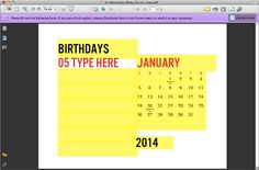 Never forget a birthday again! Instant download printable calendar. All text is editable, with a column to add birthdays on the right. Use year after year, add local holidays, change languages. Download once and print as many as you want. From e.m.papers. #printable #calendar #2014calendar