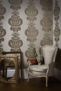 Baudelaire Damask Wallpaper Large print metallic mottled iridescent pewter/grey damask design wallpaper on white paper.