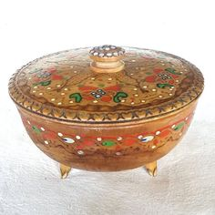 Vintage Wooden Hand Painted Pyrography Engraved Footed Bowl with Lid Trinket Box Polish Folk Art Early Mid Century Poland by cyanvintagegoods on Etsy