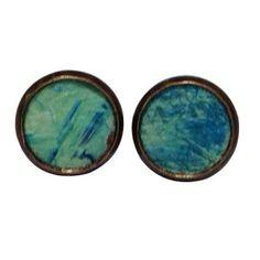 Blue ocean ombre Leather Stud Earrings.  #earrings #fashion  9thelm.com