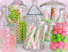 candy in apothecary jars