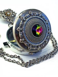 Gothic Steampunk Compass Locket Pendant Necklace by ApplebiteJewelry