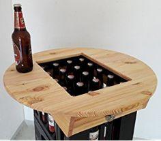 Bierkasten Tischaufsatz Partytisch Stehtisch Bistrotisch mit Flaschenöffner, Ø 60 cm, Kiefer endbehandelt mit Leinölfirnis, massiv verleimt