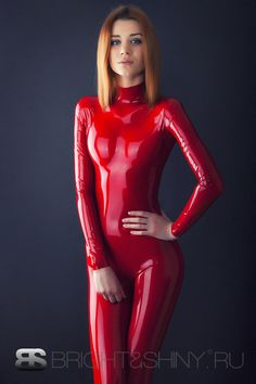 Supersweet model in a red #rubber catsuit by Bright and Shiny. Oh those Russians.