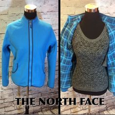 ‼️WEEKEND SALE PRICE‼️THE NORTH FACE FLEECE JACKET Gorgeous blue fleece jacket that will attach to other north face jackets. Plaid inside.. No damage.. Like new.    HIC-2 North Face Jackets & Coats Utility Jackets