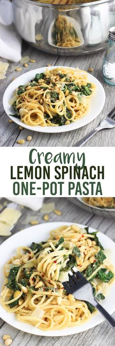 This easy, creamy lemon spinach one-pot pasta recipe is perfect for weeknight dinners! It's dairy-free (but you can use dairy if you like) and takes just 30 minutes to make!