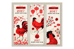 Vertical banners with rooster by kotoffei on @creativemarket