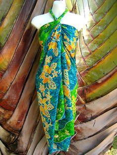 Sarong Green White Plumeria Hawaiian Luau Cruise Dress on Etsy, $18.99