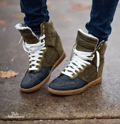 Nike Sky Hi Sneaker Boots. The things I would do for these... #shoelover