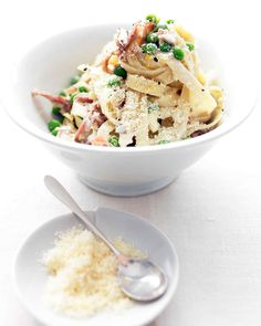 Prosciutto -- air-dried Italian ham -- combined with peas and Parmesan cheese is a classic pasta topping.