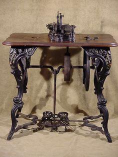 Antique fancy leg cast iron flat belt 1860's Florence Treadle Sewing (back view)