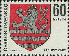 Stamp: Karlovy Vary (Czechoslovakia) (Coats of arms of the Czechoslovak cities) Mi:CS 1891 Coat Of Arms, Postage Stamps, Cities, Coats, Type, Door Bells, Stamps, Wraps, Family Crest