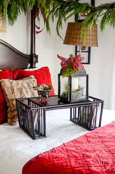 It's another CHRISTMAS BEDROOM! My guest room is not neutral but is filled with color! So if you are missing Christmas Mantels, Noel Christmas, All Things Christmas, White Christmas, Christmas Decorations, Christmas Ideas, Holiday Ideas, Tartan Christmas, Christmas 2017