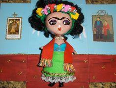 Frida Kahlo altered art doll, mixed media, by Yoli Manzo