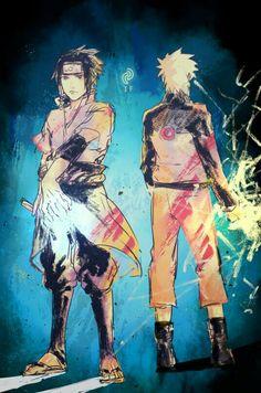 Sasuke, Naruto, Chidori, Rasengan, rivals, switch roles, text; Naruto