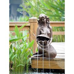 Solar Mermaid Pond Water Fountain With Water Pump and Battery Timer Outdoor Water Features, Pond Water Features, Outdoor Ponds, Outdoor Fountains, Mermaid Diy, Garden Fountains, Water Fountains, Garden Ponds, Garden Statues